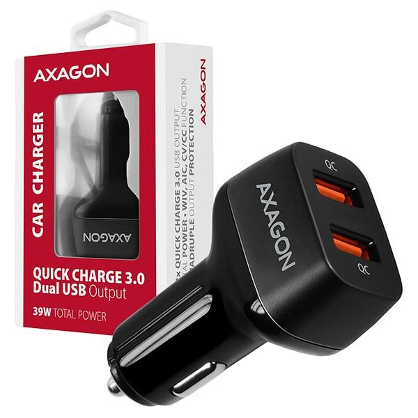 AXAGON PWC-DQC car charger 2x QC3.0, 36W, black