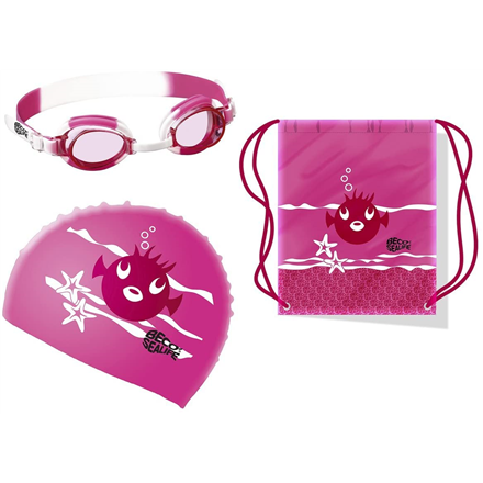 Swimming set SEALIFE: googles + cap + bag 96054 4 pink