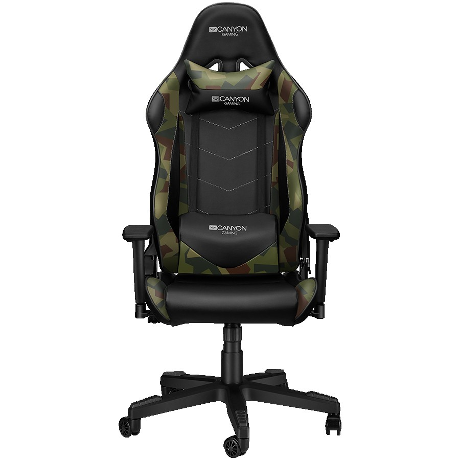 CANYON Argama GС-4AO Gaming chair, PU leather, Original foam and Cold molded foam, Metal Frame, Top gun mechanism, 90-165 dgree, 3D armrest, Class 4 gas lift, Nylon 5 Stars Base, 60mm PU caster, Black+camouflage pattern