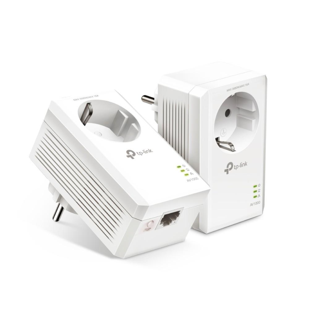 TP-LINK AV1000 Gigabit Passthrough Powerline Starter Kit TL-PA7017P KIT 10/100/1000 Mbit/s, Ethernet LAN (RJ-45) ports 1, No Wi-Fi, Extra socket
