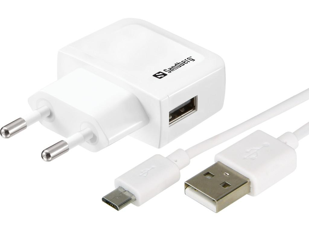 Sandberg Mini AC Charger Micro USB 1A Must, Valge Hoonesisene
