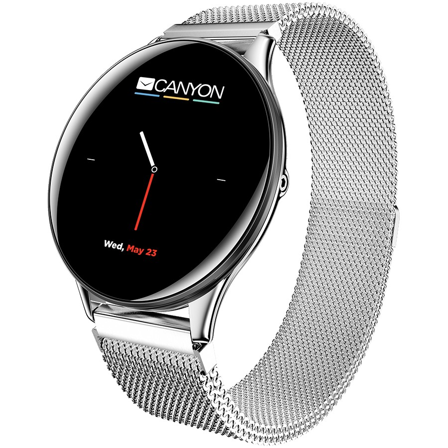 CANYON Lemongrass SW-70 Smart watch, 1.3inches IPS full touch screen, Zinc plastic body,IP68 waterproof, multi-sport mode with swimming mode, compatibility with iOS and android,Silver body with silver metal belt, Host: 44.5x11.6mm, Strap: 240x20mm, 53g
