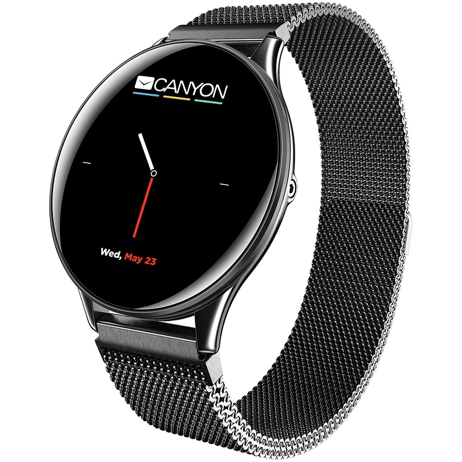 CANYON Lemongrass SW-70 Smart watch, 1.3inches IPS full touch screen, Zinc plastic body,IP68 waterproof, multi-sport mode with swimming mode, compatibility with iOS and android,Black body with black metal belt, Host: 44.5x11.6mm, Strap: 240x20mm, 53g