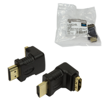 HDMI Adapter small size, AM to AF in 90 degree Logilink