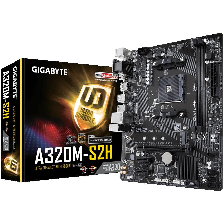 GIGABYTE Main Board Desktop AMD A320 (SAM4, 2xDDR4, Realtek ALC887, 1x10/100/1000 Mbit, 1xPCIEX16, 2xPCIEX1, 1xM.2, 4xSATA 6Gb/s, 2xPS/2, 1xD-Sub, 1xDVI-D, 1xHDMI, 4xUSB3.1Gen1, 2xUSB2.0, 1xRJ-45) mATX, Retail