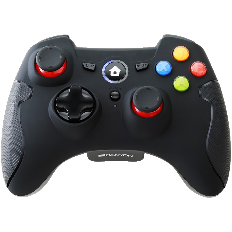 CANYON GP-W6 2.4G Wireless Controller with Dual Motor, Rubber coating, 2PCS AA Alkaline battery ,support PC X-input mode/D-input mode, PS3, Android/nano size dongle,black