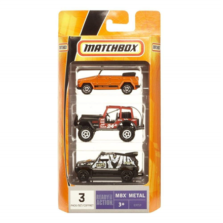 Matchbox Mb 3-Pack Toy Vehicles, Suitable for children aged 3 and above. Each 1:64 scale vehicle is highly detailed with authentic decos and real rolling wheels.