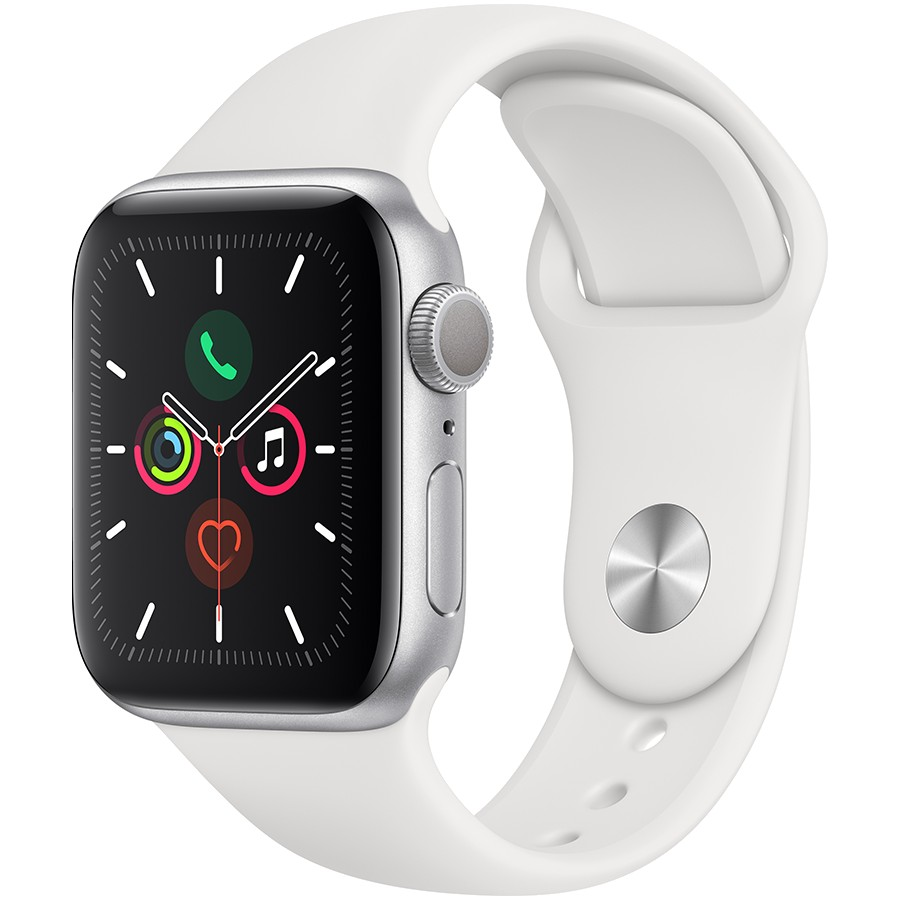 Apple Watch Series 5 GPS, 40mm Silver Aluminium Case with White Sport Band Model nr A2092