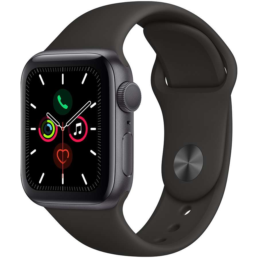 Apple Watch Series 5 GPS, 40mm Space Grey Aluminium Case with Black Sport Band Model nr A2092