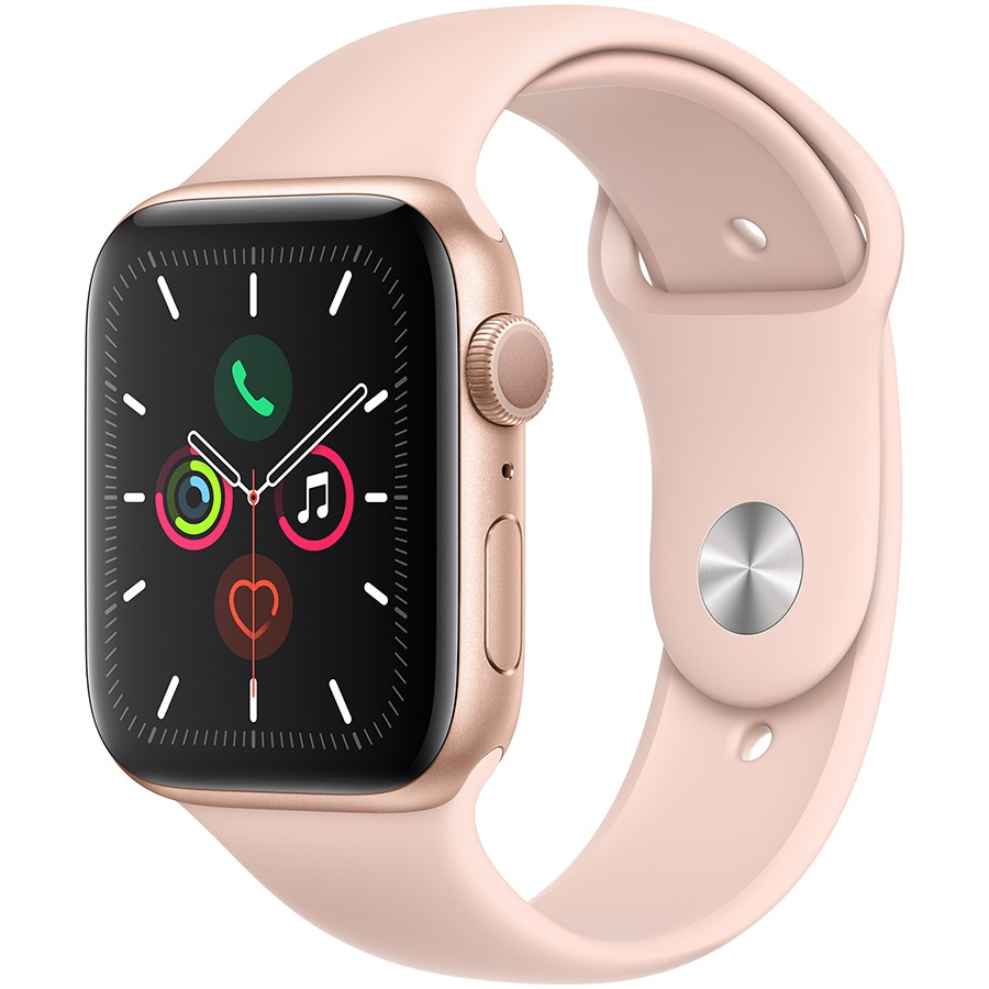 Apple Watch Series 5 GPS, 44mm Gold Aluminium Case with Pink Sand Sport Band - S/M & M/L Model nr A2093