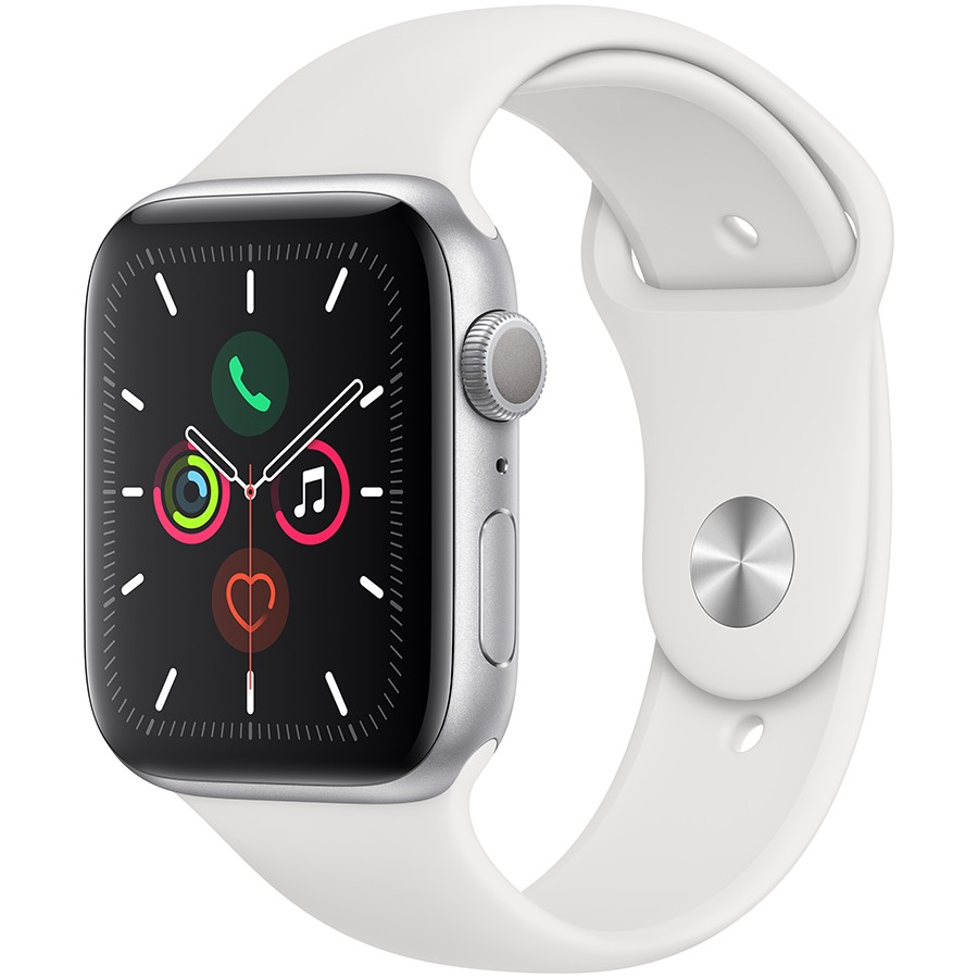 Apple Watch Series 5 GPS, 44mm Silver Aluminium Case with White Sport Band - S/M & M/L Model nr A2093