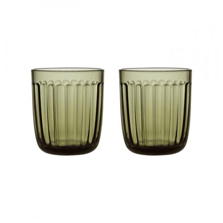 IITTALA Raami Water Glasses, 2 pcs. Glass, Moss Green, Capacity 0.26 L