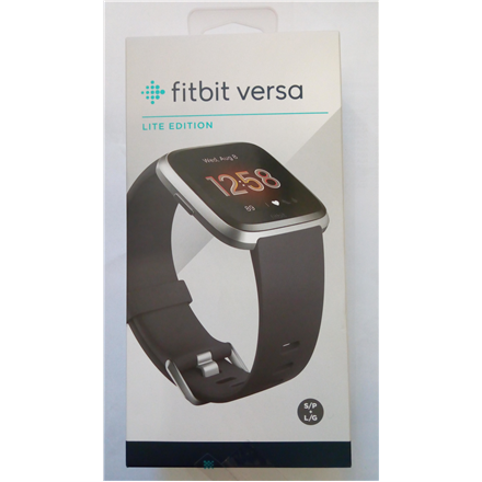 SALE OUT. Fitbit Versa Lite Smart watch, LCD, Touchscreen, Heart rate monitor, Activity monitoring 24/7, Waterproof, Bluetooth, Silver Gray - DAMAGED SEAL