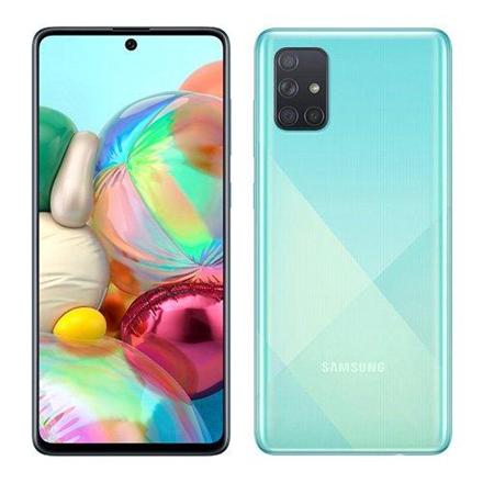 "Samsung Galaxy A71 A715 Prism Crush Blue, 6.7 "", Super AMOLED, 1080 x 2400, Qualcomm, Snapdragon 730, Internal RAM 6 GB, 128 GB, microSD, Dual SIM, Nano-SIM, 3G, 4G, Main camera 64+12+5+5 MP, Secondary camera 32 MP, Android, 10.0, 4500 mAh"
