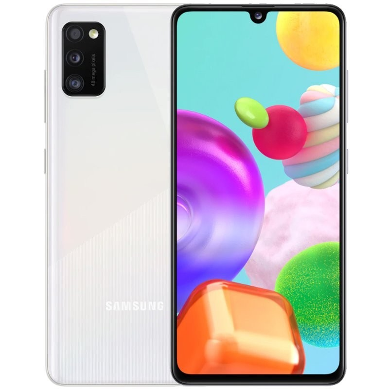 "Samsung Galaxy A41 Prism Crush White, 6.1 "", Super AMOLED, 1080 x 2400, Mediatek MT6768 Helio P65, Internal RAM 4 GB, 64 GB, microSD, Dual SIM, Nano-SIM, 3G, 4G, Main camera Triple 48 + 8 + 5 MP, Secondary camera 25 MP, Android, 10, 3500 mAh"