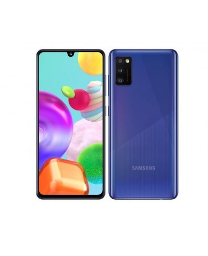 "Samsung Galaxy A41 Prism Crush Blue, 6.1 "", Super AMOLED, 1080 x 2400, Mediatek MT6768 Helio P65, Internal RAM 4 GB, 64 GB, microSD, Dual SIM, Nano-SIM, 3G, 4G, Main camera Triple 48 + 8 + 5 MP, Secondary camera 25 MP, Android, 10, 3500 mAh"