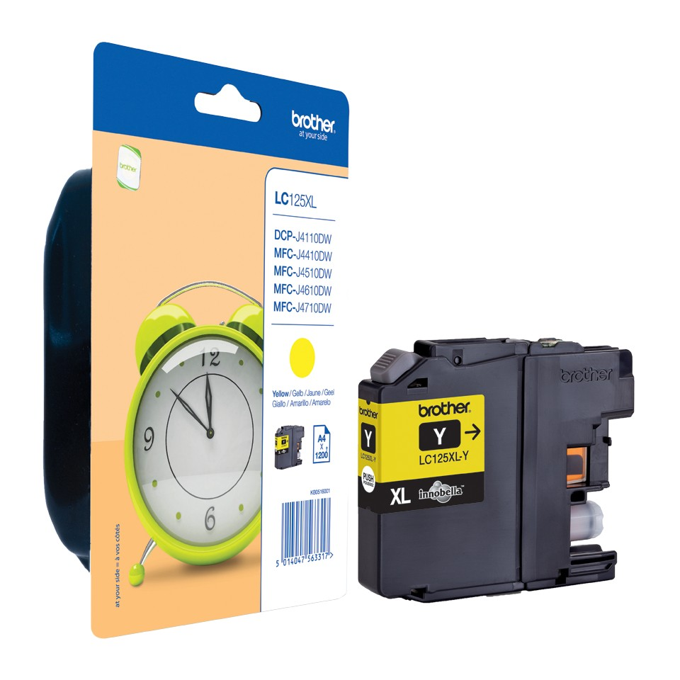 Brother LC125XLY ink cartridge, yellow, high capacity