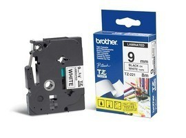 Brother TZE-221 laminated tape black on white 9mm*8m