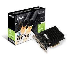 Graphics Card MSI NVIDIA GeForce GT 710 2 GB 64 bit PCIE 2.0 16x GDDR3 Memory 1600 MHz GPU 954 MHz Single Slot Fansink 2xDVI 1xMini-HDMI GT7102GD3HH2D