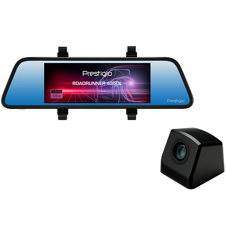 Prestigio RoadRunner 435DL, 6.86'' (1280x480) touch display, Dual camera: front - FHD 1920x1080@30fps, HD 1280x720@30fps, rear - VGA 640x480@30fps, SSC8336, 2 MP CMOS GC2063 image sensor, 12 MP camera, 125° Viewing Angle (front camera), Mini USB, Motion Detection, G-sensor, Cyclic Recording, color/black, Plastic case