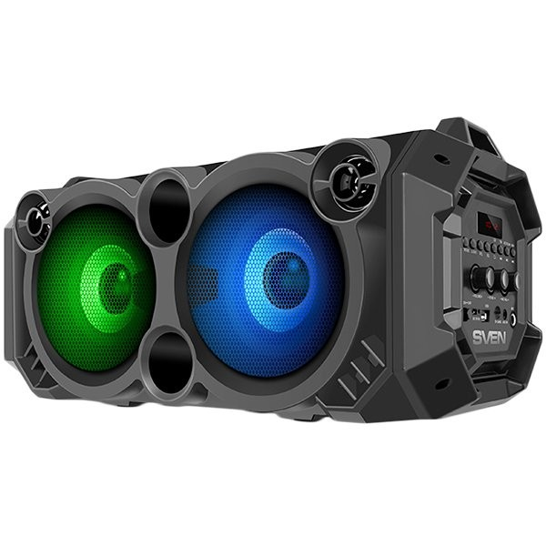 Speaker SVEN PS-550, black, power output 2x18W (RMS), Bluetooth, FM, USB, microSD, LED-display, lithium battery