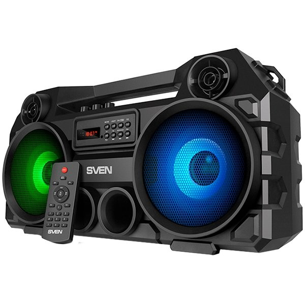 Speaker SVEN PS-580, black, power output 2x18W (RMS), TWS, Bluetooth, FM, USB, microSD, LED-display, RC, lithium battery