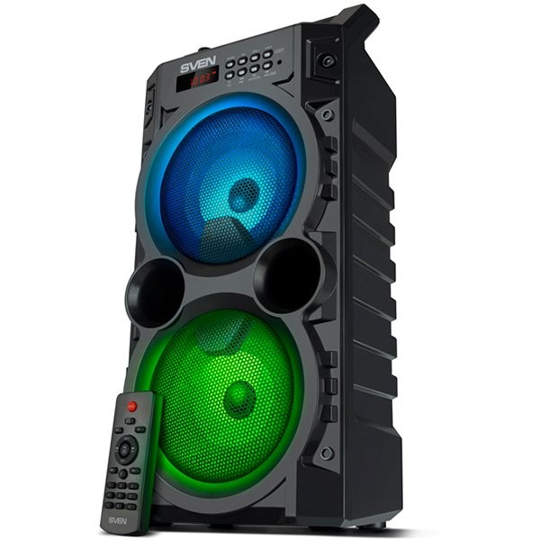 Speaker SVEN PS-440, black, power output 2x10W (RMS), TWS, Bluetooth, FM, USB, microSD, LED-display, RC, lithium battery