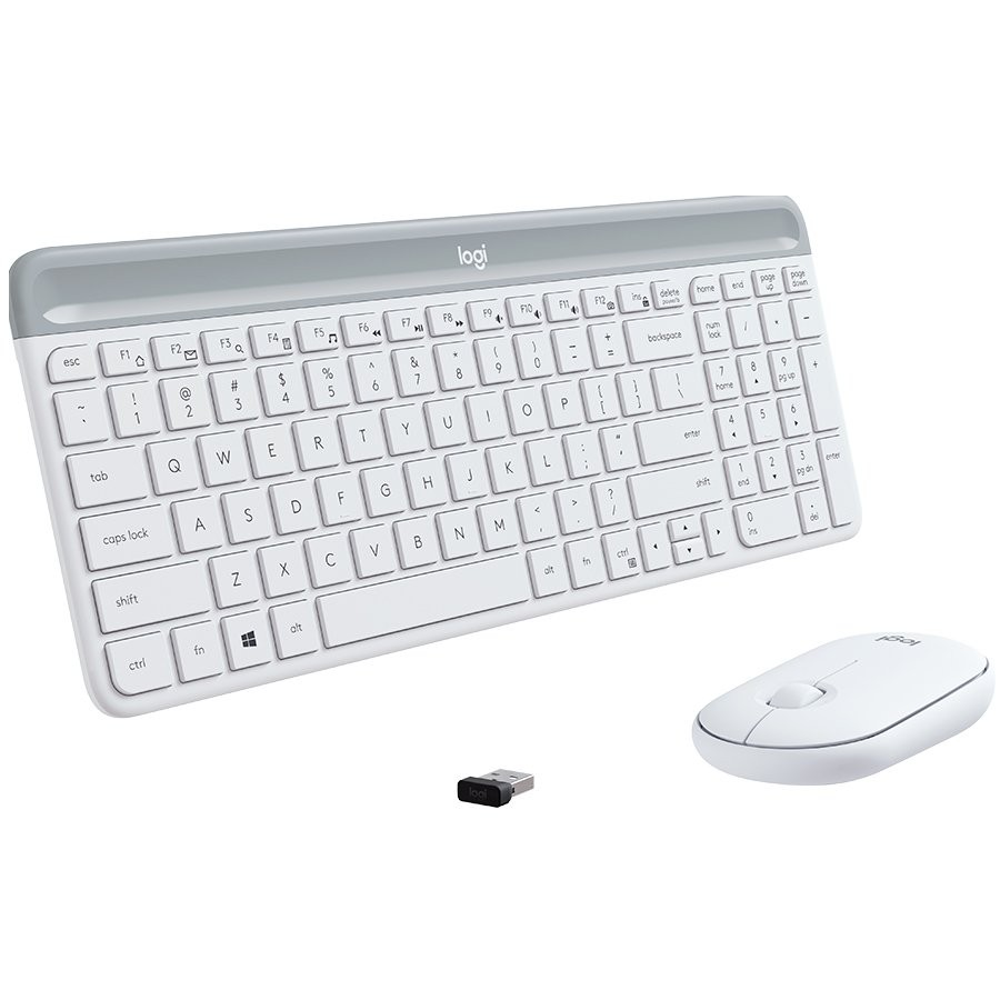 LOGITECH Slim Wireless Keyboard and Mouse Combo MK470-OFFWHITE-US INT'L-2.4GHZ-INTNL