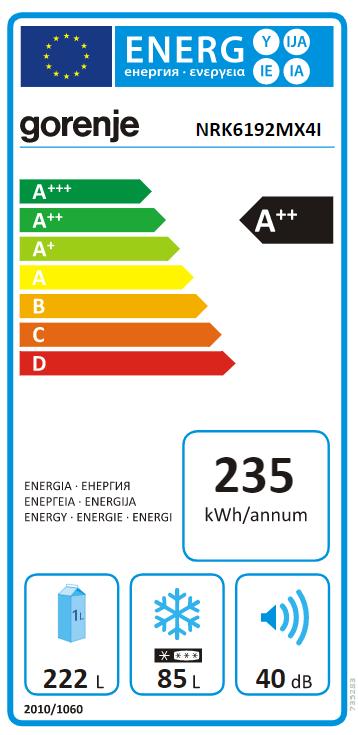Gorenje Refrigerator NRK6192MX4I Energy efficiency class A++, Free standing, Combi, Height 185 cm, No Frost system, Fridge net capacity 222 L, Freezer net capacity 85 L, Display, 40 dB, Metalic grey