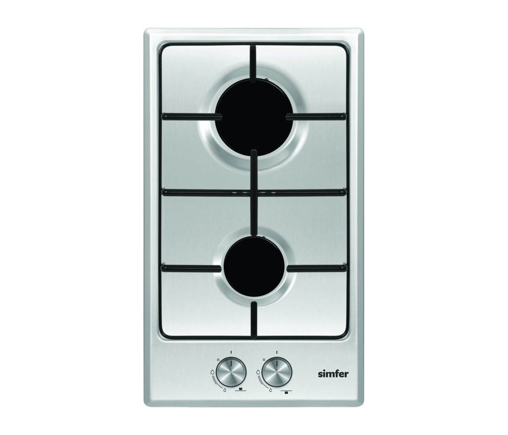 Simfer Hob H3.200.VGRIM Gas, Number of burners/cooking zones 2, Rotary knobs, Inox
