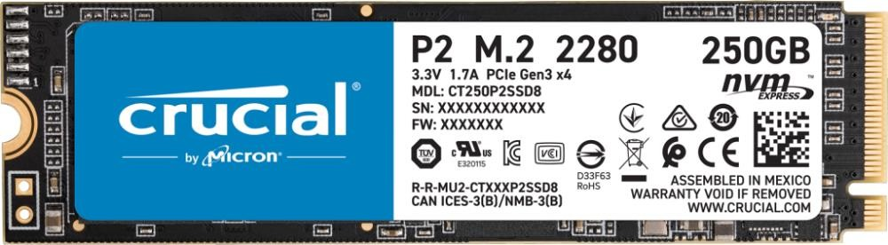 SSD|CRUCIAL|P2|250GB|M.2|PCIE|NVMe|Write speed 1150 MBytes/sec|Read speed 2100 MBytes/sec|CT250P2SSD8