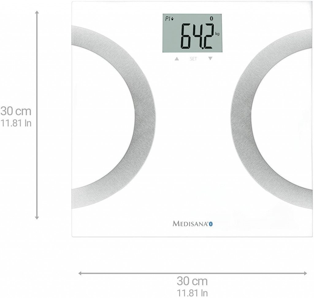 Medisana Body Analysis Scales 445 connect Memory function, Body fat analysis, Body water percentage, Maximum weight (capacity) 180 kg, Bone mass analysis, Body Mass Index (BMI) measuring