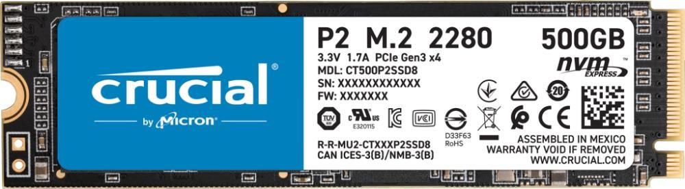 SSD|CRUCIAL|P2|500GB|M.2|PCIE|NVMe|Write speed 940 MBytes/sec|Read speed 2300 MBytes/sec|CT500P2SSD8