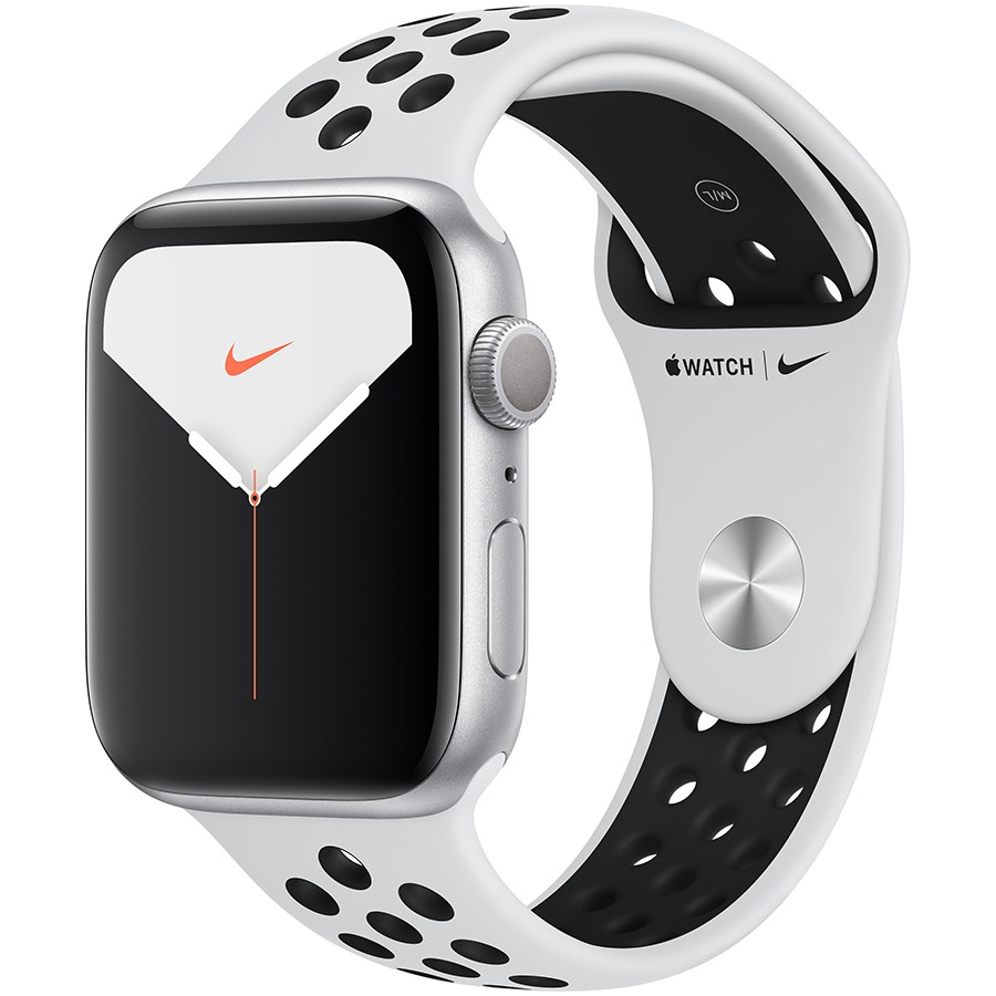 Apple Watch Nike Series 5 GPS. 44mm Silver Aluminium Case with Pure Platinum/Black Nike Sport Band - S/M & M/L Model nr A2093