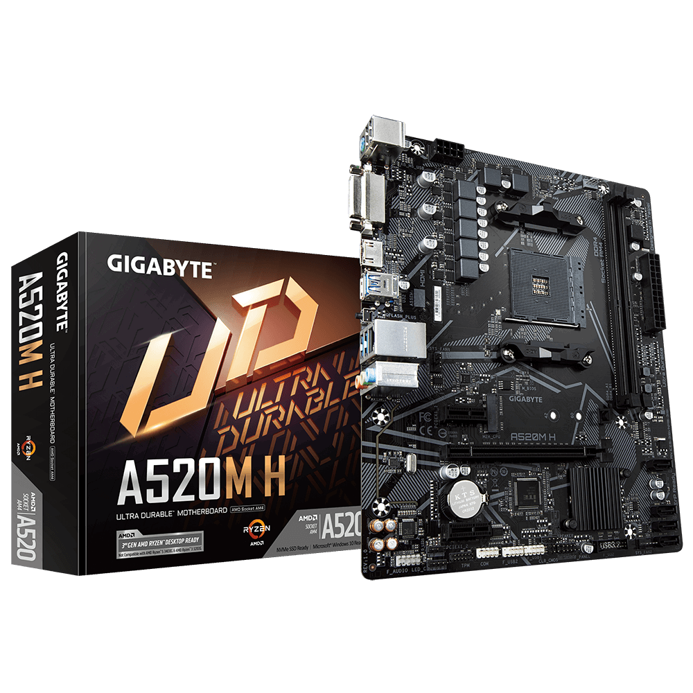 Gigabyte A520M H 1.0 Processor family AMD, Processor socket AM4, DDR4 DIMM, Memory slots 2, Chipset AMD A, Micro ATX