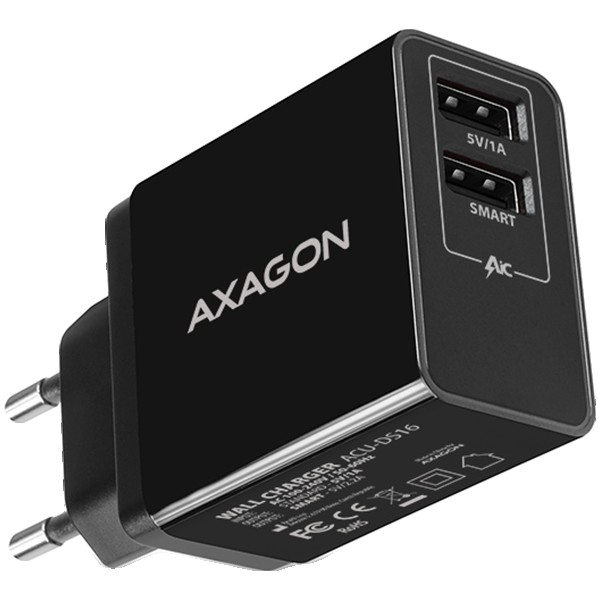 Axagon Dual wall charger <240V / 2x port 5V-2.2A + 5V-1A. 16W total power.