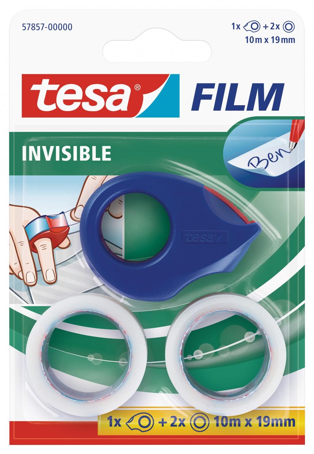 Mini teibialus Tesa + 2 teipi, 10m x 19mm, läbipaistev
