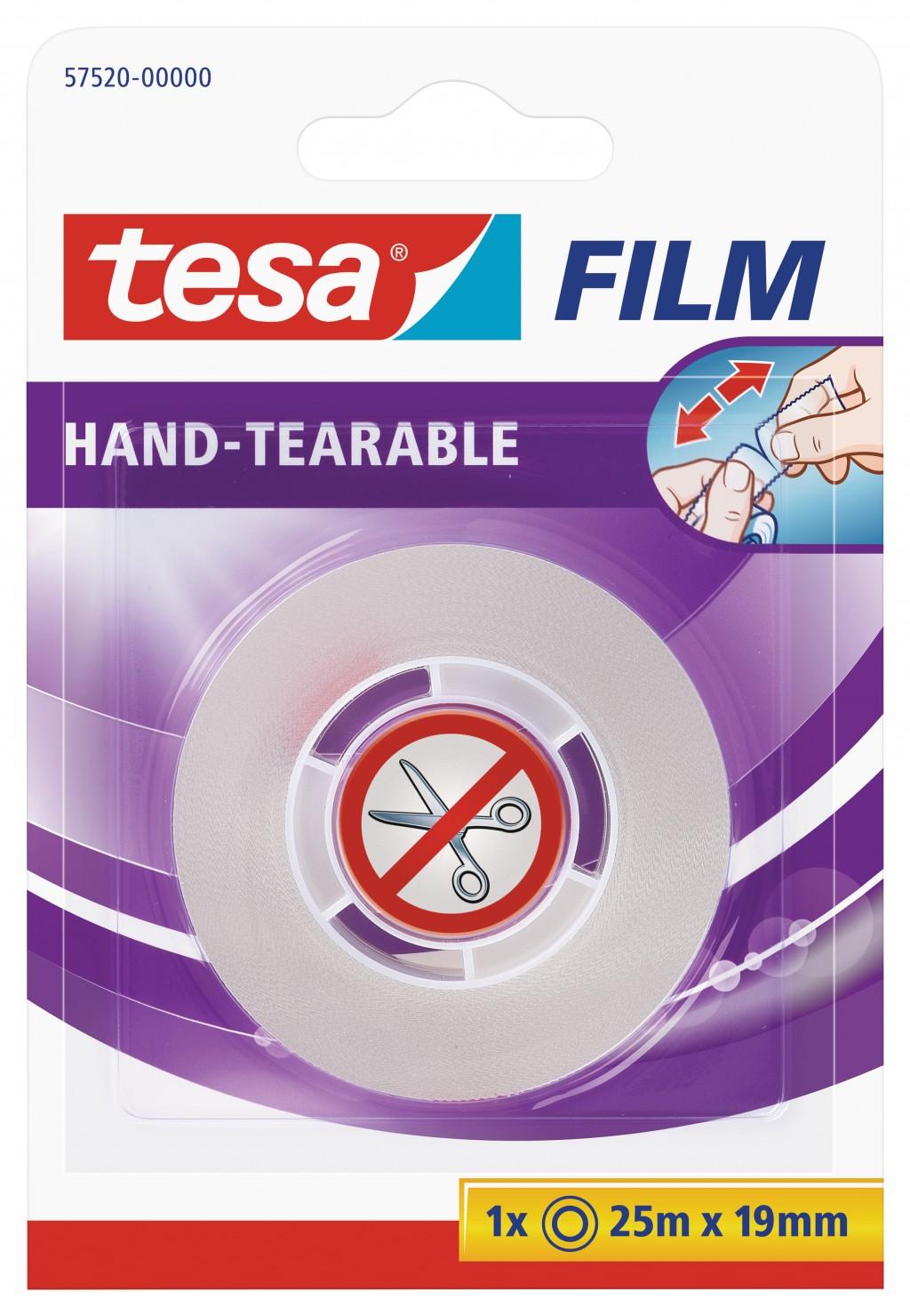 Teip Tesa, 25m x 19mm, käsitsi rebitav, läbipaistev