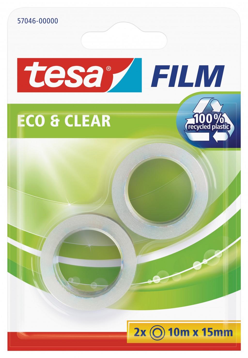 Teip Tesa, Eco & Clear, 10m x 15mm, 2 tk/pakis, läbipaistev