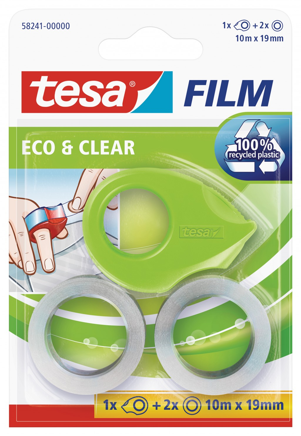 Mini teibialus Tesa, 10m x 19mm, 2teipi pakis, läbipaistev, Eco & Clear