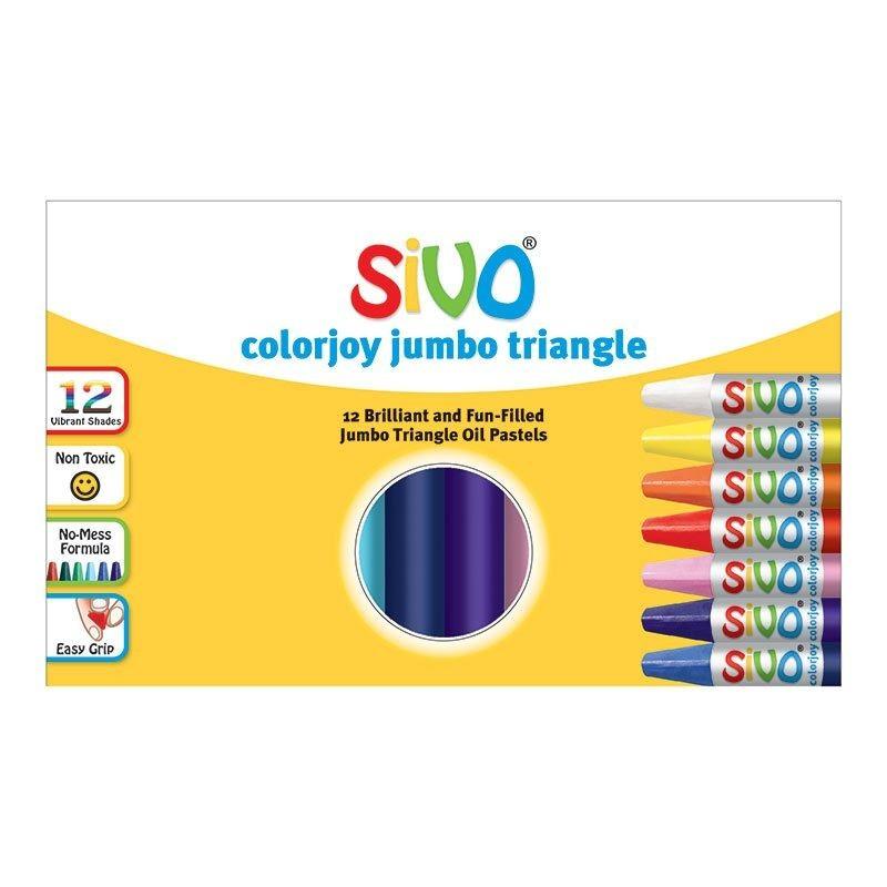 Õlipastellid SiVO Colorjoy Jumbo, 90mm, 12 värvi