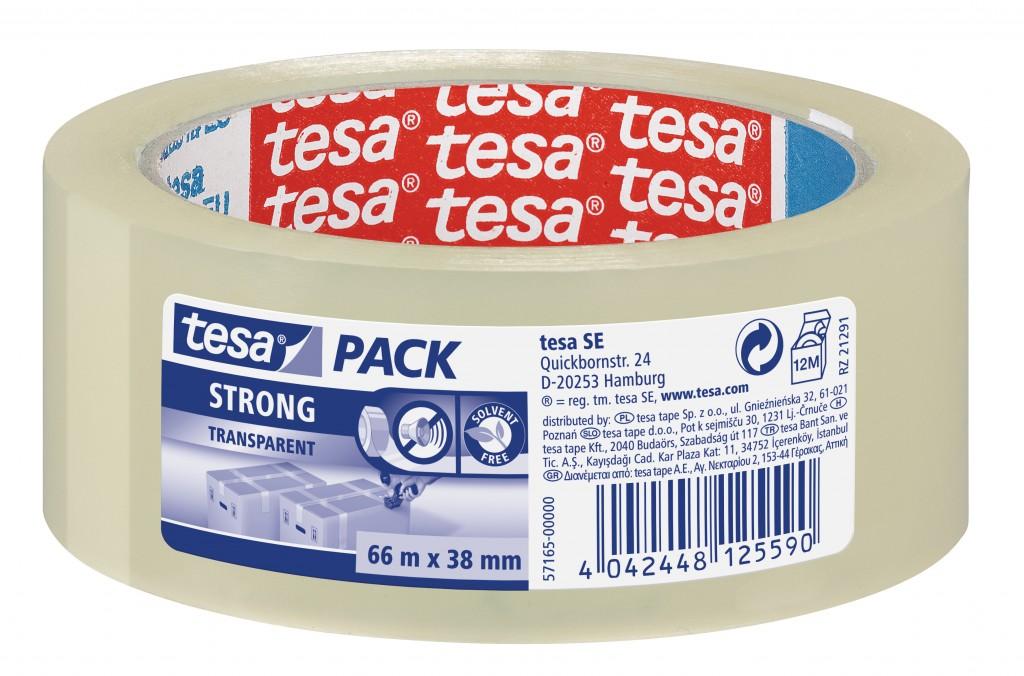 Pakketeip Tesa, 66m x 38mm, läbipaistev, tugev
