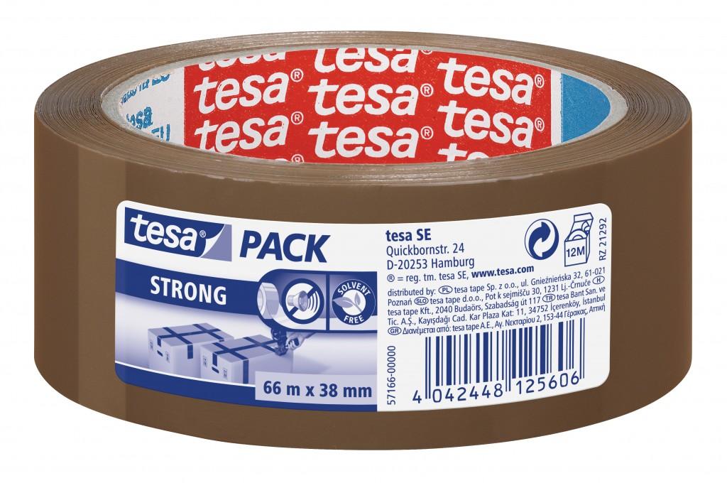 Pakketeip Tesa, 66m x 38mm, pruun, tugev