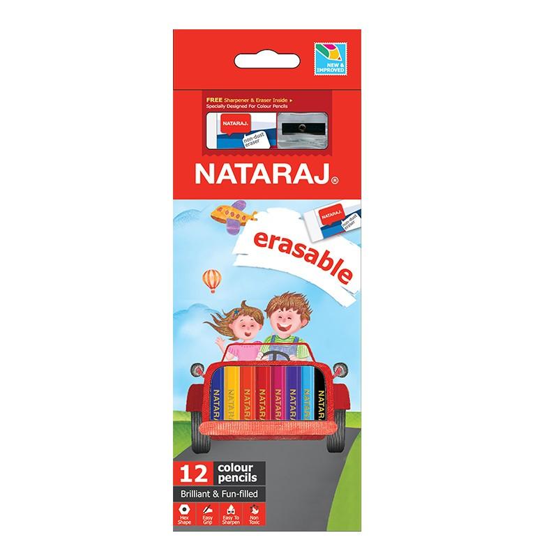 Värvipliiatsid Nataraj, kustutatavad, 12 värvi