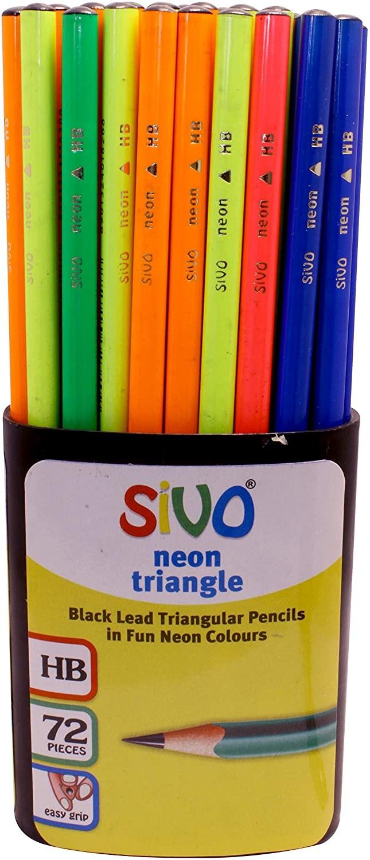 Harilik pliiats SIVO NEON HB, kolmnurkne, assortii, 1tk