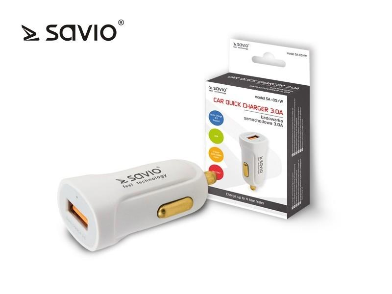 Car Quick Charge charger Savio SA-05/W 3.0A, 1xUSB