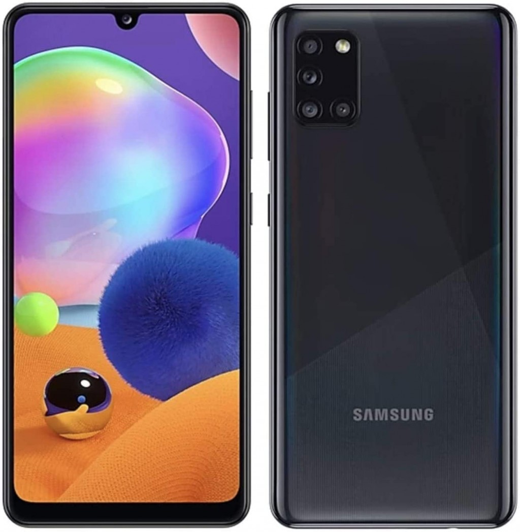 "Samsung Galaxy A31 Black, 6.4 "", Super AMOLED, 1080 x 2400 pixels, Mediatek MT6768 Helio P65, Internal RAM 4 GB, 64 GB, microSDXC, Dual SIM, Nano-SIM, 3G, 4G, Main camera 48 + 5 + 8 + 5 MP, Secondary camera 20 MP, Android, 10, 5000 mAh"