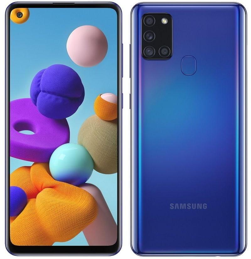"Samsung Galaxy  A21s Blue, 6.5 "", TFT LCD, 720 x 1600, Exynos 850, Internal RAM 3 GB, 32 GB, microSD, Dual SIM, Nano-SIM, 3G, 4G, Main camera 48+8+2+2 MP, Secondary camera 13 MP, Android, 10.0,  5000 mAh"