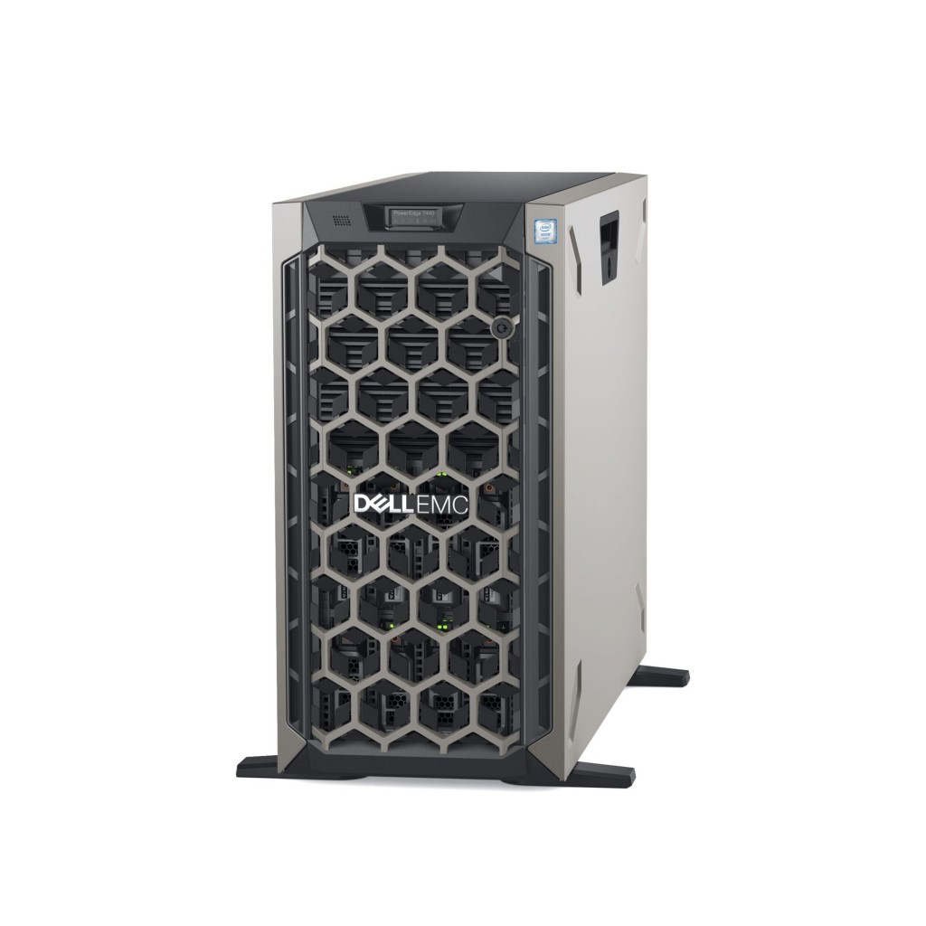 "Dell PowerEdge T440 Tower, Intel Xeon, Silver 1x4208, 2.2 GHz, 11 MB, 16T, 8C, RDIMM DDR4, 2666 MHz, No RAM, No HDD, Up to 8 x 3.5"", Hot-swap hard drive bays, PERC H730P, Dual, Hot-plug, Redundant, Power supply 750 W, On-Board LOM 2x1GbE, iDRAC 9 Enterprise, No OS, Warranty Basic Onsite 36 month(s)"