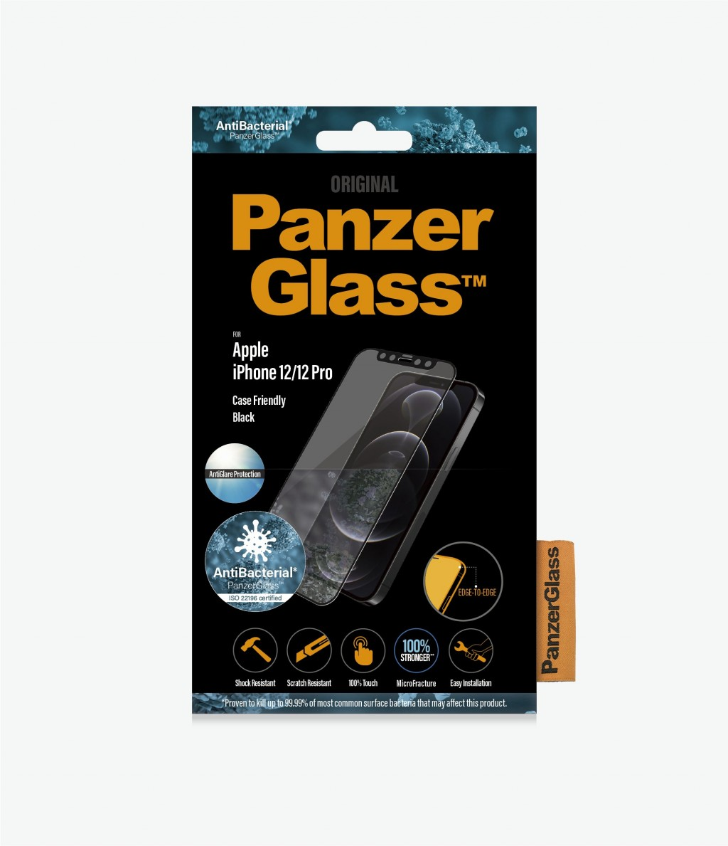 PanzerGlass Apple, iPhone 12/12 Pro, Anti-glare glass, Black, Case Friendly, Antimicrobial
